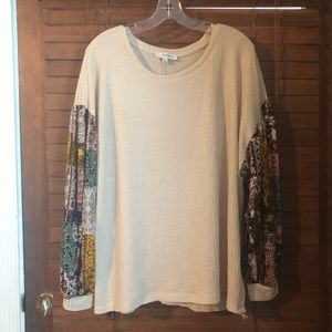 Umgee waffle knit top with patterned sleeves
